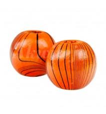 Drewniane koraliki kula 14mm paski pomarańcz