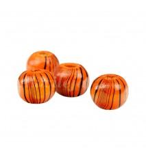 Drewniane koraliki kula 8mm paski pomarańcz