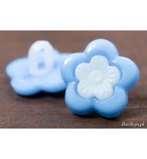 Guzik plastikowy składany kwiatek 14mm niebieski