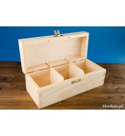 Herbaciarka pudełko na herbatę 3 przegródki z zapięciem