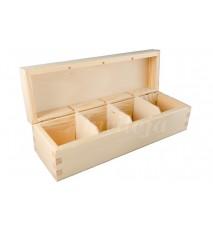 Herbaciarka pudełko na herbatę 4 przegródki bez zapięcia