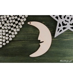 Bombka drewniana zawieszka księżyc 3x10cm