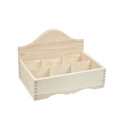 Herbaciarka pudełko na herbatę 6 przegródek otwarta