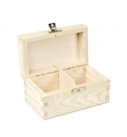 Herbaciarka pudełko na herbatę 2 przegródki z zapięciem