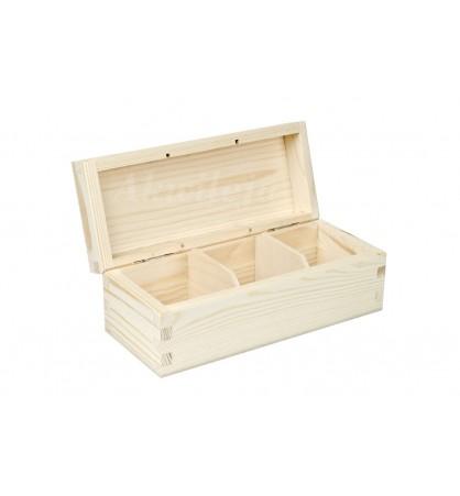 Herbaciarka pudełko na herbatę 3 przegródki bez zapięcia