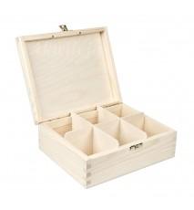 Herbaciarka pudełko na herbatę 6 przegródek z zapięciem