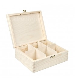 Herbaciarka pudełko na herbatę 6 przegródki z zapięciem