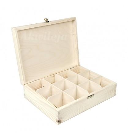 Herbaciarka pudełko na herbatę 12 przegródek z zapięciem