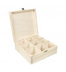 Herbaciarka pudełko na herbatę 9 przegródek z zapięciem