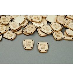 Drewniana etykietka metka maszyna HANDMADE 17x20mm