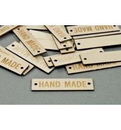 Drewniana etykietka metka Handmade 13x50mm