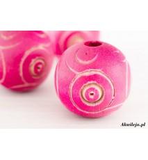 Drewniane koraliki kula 20mm grawer róż