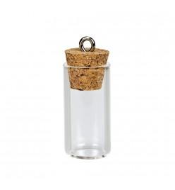 Buteleczka szklana zawieszka 13x27mm z korkiem