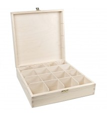Herbaciarka pudełko na herbatę 16 przegródek z zapięciem