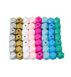 Drewniane koraliki hexagon 12x16mm