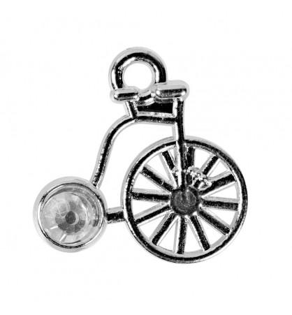 Zawieszka rower 16x16mm z kamyczkiem platyna