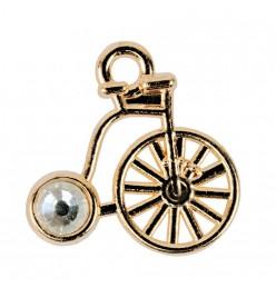 Zawieszka rower 16x16mm z kamyczkiem złoty