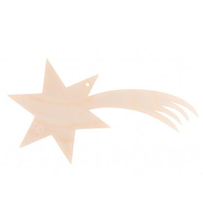 Bombka drewniana zawieszka gwiazda betlejemska kometa 9x16cm
