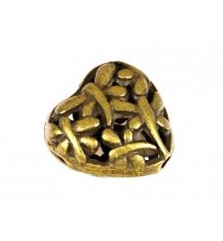 Koraliki metalowe przekładka serce 15x15mm mosiądz