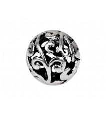 Koraliki metalowe z ornamentem kula 10mm platyna