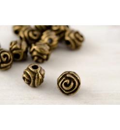 Koraliki metalowe przekładka róża 5mm mosiądz