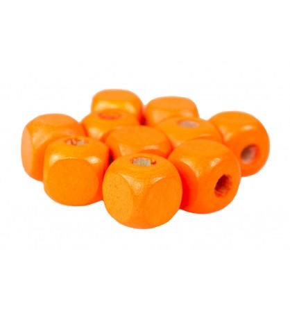 Drewniane koraliki kostka 10x10mm pomarańcz