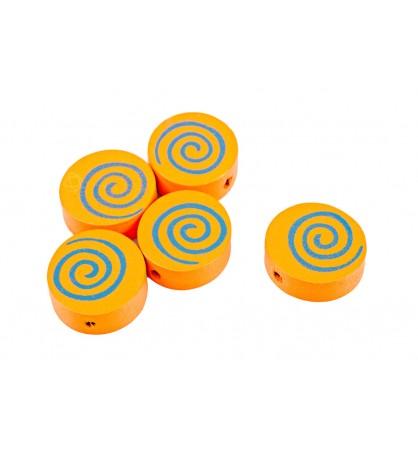 Drewniane koraliki dysk spirala 15mm pomarańcz