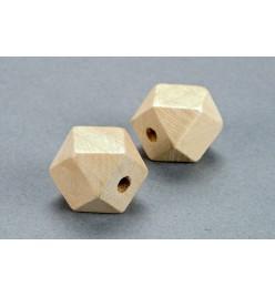 Drewniane koraliki heksagon surowe 15x15mm