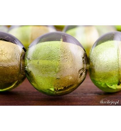 Szkło weneckie pastylka 20mm złote pistacje