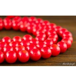 Koral czerwony błyszczący kula 8mm