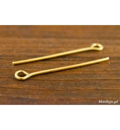 Szpilki z oczkiem 26mm złote