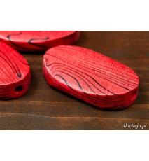 Drewniane koraliki owal 20x33mm paski czerwony
