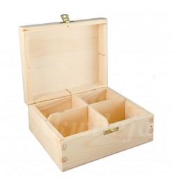 Herbaciarka pudełko na herbatę 4 przegródki z zapięciem